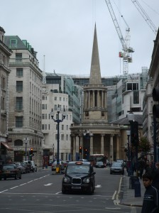 All Souls Church, London. The crane is for construction on the BBC in the background.