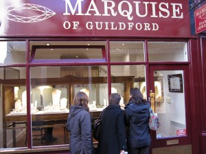Guildford isn't all about the ancient. Guildford's diamond dealers attract plenty of modern-day window shoppers (although I saw no men at diamond dealers; they had there noses pressed against the windows at the electronics stores).