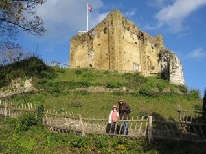 The castle that remains standing was probably established by William the Conqueror in 1066. (My girls for interested family!)